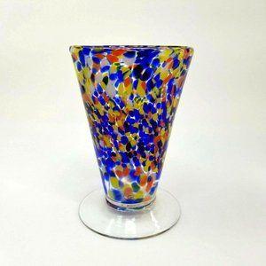 1Source Inc Signature Hand Blown Glass Vase Blue
